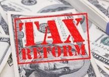tax reform stamp on money square